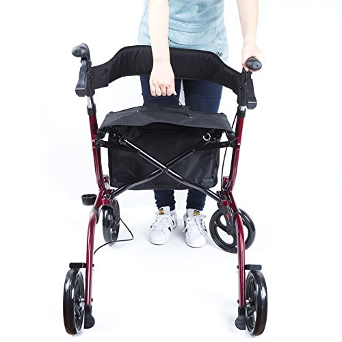 ELENKER Medical Euro Style Four Wheel Walker Rollator Red by ELENKER (Image #5)