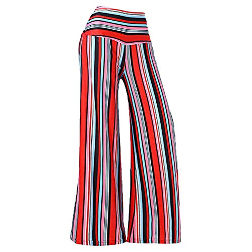 Printed Waistband (PENGYGY Sexy Wide Leg Pants for Women Striped Printed Elastic Waistband Mid-Waist Pants)