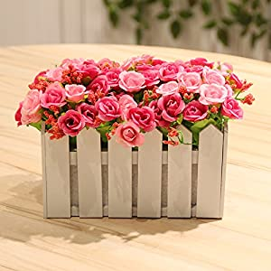 Emulation flower rose wood fence decorated with flowers kit living room country style flower Artificial Flowers 94