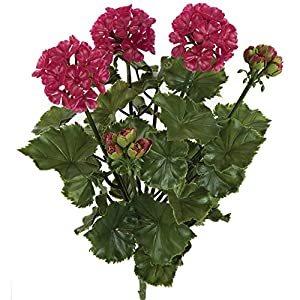 "SilksAreForever 16"" UV-Proof Outdoor Artificial Geranium Flower Bush -Wine/Red (Pack of 6) 77"