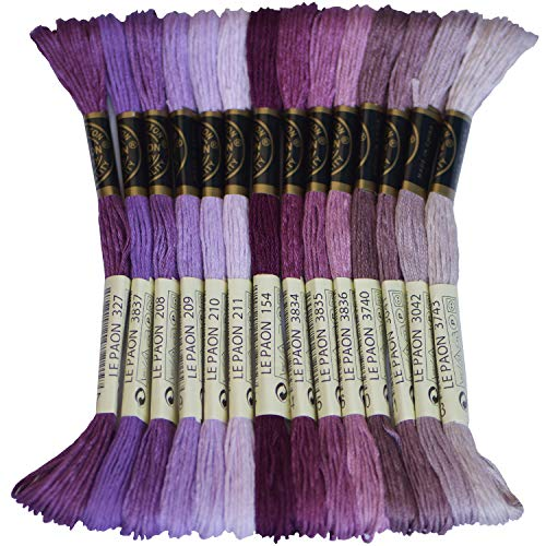Premium Rainbow Color Embroidery Floss - Cross Stitch Threads - Friendship Bracelets Floss - Crafts Floss - 14 Skeins Per Pack Embroidery Floss, Dark Violet Gradient