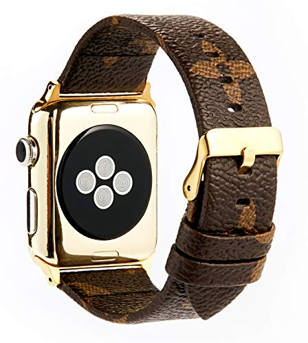 GOKE Brown Flower LV Printed Luxury PU Vegan Leather Watch Band Strap Compatible for 42mm Apple Watch Series 3 2 1 (Brown Flower 42mm)