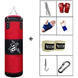 7 In 1 Boxing Bag Set with Chains and Gloves, Fillable Punching Bag for Gym Bodybuilding - Punch Speed Training, for Taekwondo, Muay Thai, Workout - Bags Empty
