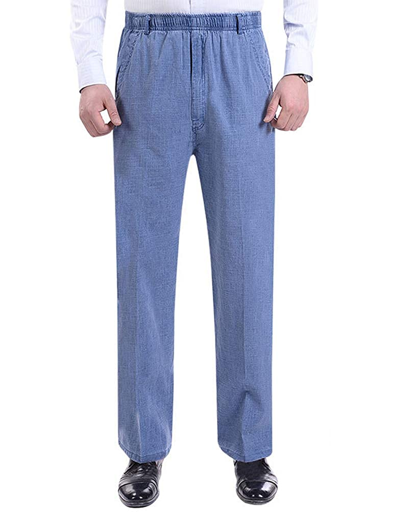 IDEALSANXUN Men/'s Casual Elastic Waist Thin Cotton Linen Pant