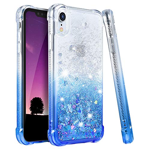 Ruky Case for iPhone XR Glitter Case, Gradient Quicksand Series TPU Bumper Cushion Reinforced Corners Protective Bling Liquid Girls Women Case for iPhone XR 6.1 inches, Gradient Azure