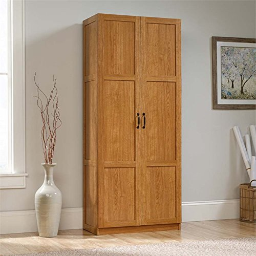 Kitchen Storage Pantry - Sauder Storage Cabinet, Highland Oak Finish