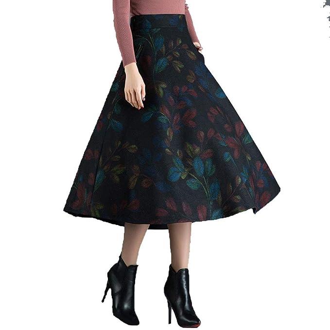 b6ad205c6 NIAIS Falda Plisada De A-Line Floral De Lana para Mujer, Falda Larga ...