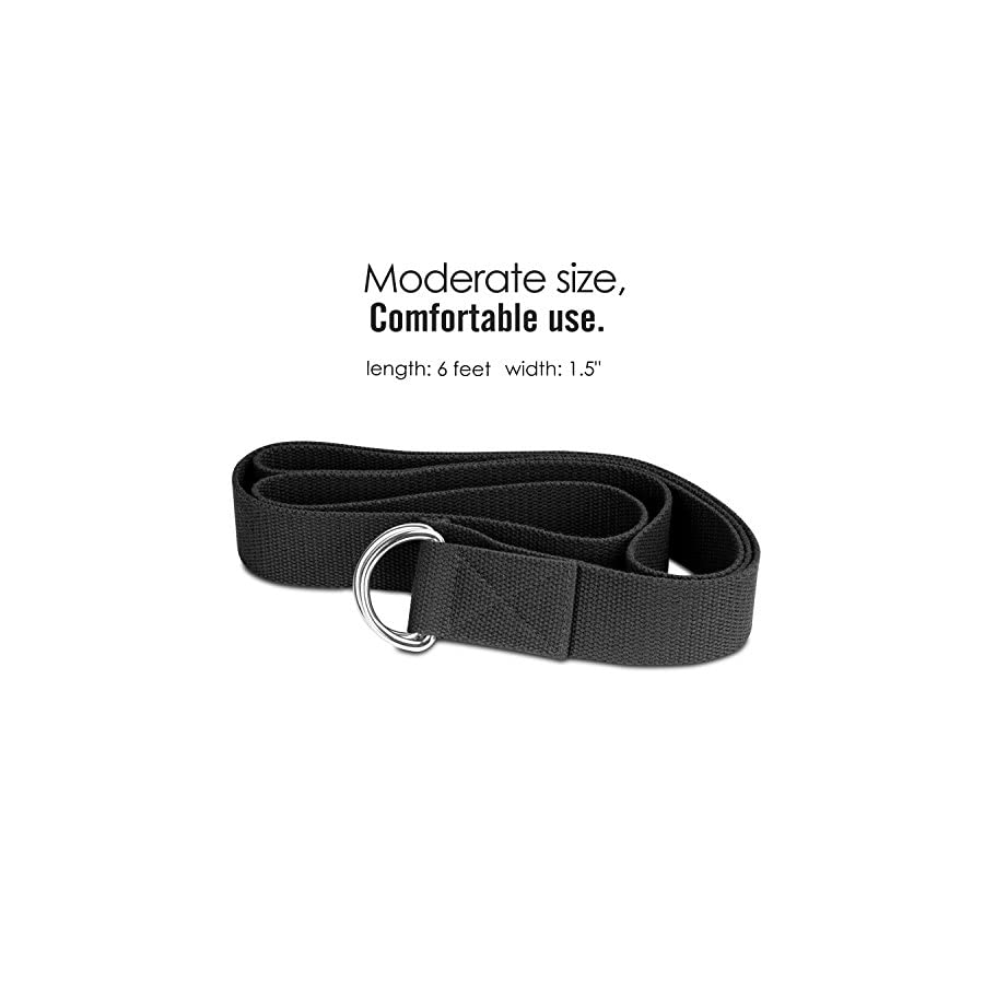 MoKo Yoga Strap Belt [2 Pack], Stretching Exercise Fitness Bands 6ft, Made with Durable Cotton Soft with Metal D Ring Buckle, Best for Holding Poses, Physical Therapy, Pilates, Increase Flexibility