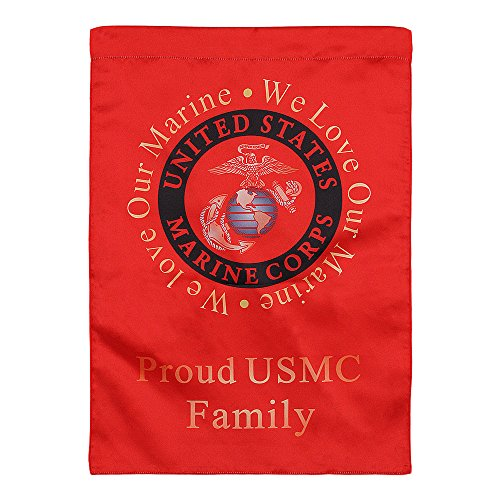 United States Marine Corps Decorative Vertical Garden Flag and Yard Banner - Double Sided Printed 13'' x 18.5'' - We Love Our Marine, Proud USMC Family by Rainmon