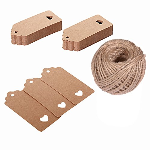 (Kraft Paper Tags Z&S Groups 100 PCS Gift Tags Rectangular Brown Kraft Tags with Hollow Heart for Wedding Favors Vintage Hang Tags Craft Tags and Price Tags with String -Jute Twine 131 Feet)