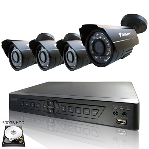 iSmart 4 Channel H.264 CCTV Security Surveillance HDMI Motion Recording DVR 4 CMOS Outdoor Weatherproof IR Night Vision Bullet 700TVL Cameras with pre-installed 500GB Hard Drive D6104FH 500GB C1030DP7x4