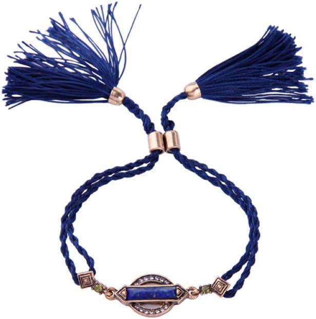 GEDASHU Pulsera Moda Punk Vintage geometría Piedra Azul Ajustable Hilo de algodón Borla Pulsera para Mujer joyería Moda
