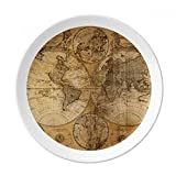 World Map Veins Pattern Background Dessert Plate Decorative Porcelain 8 inch Dinner Home