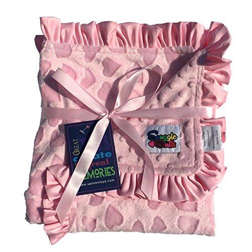 Reversible Hearts Pink (Baby Girls Reversible Minky Velboa Stroller Blanket (Choose Color) (Pink Heart))