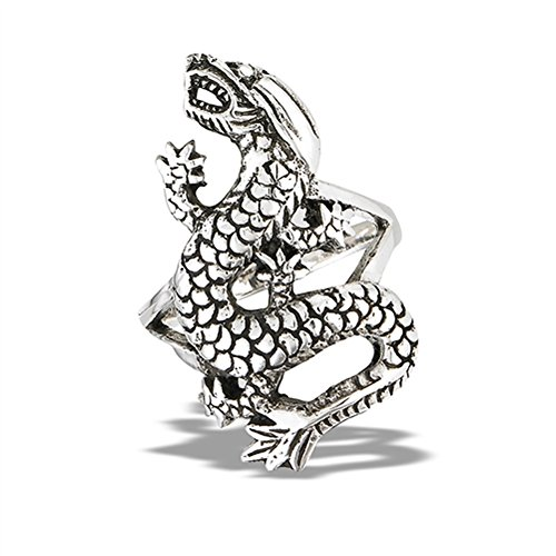 Oxidized Dragon Ring - Oxidized Dragon Scale Wide Mystic Ring New .925 Sterling Silver Band Size 13
