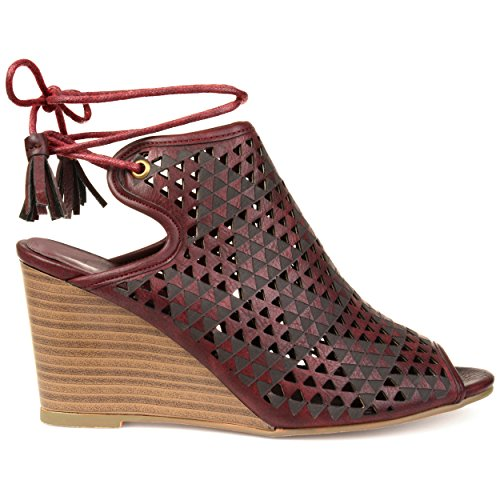 Brinley Co Womens Talbot Faux Leather Laser-Cut Peep-Toe Ankle Wrap Wedges Wine HDVFegw