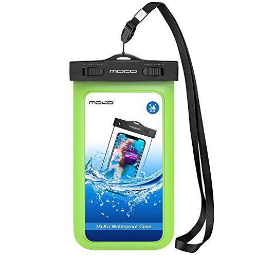 Universal Waterproof Phone Case, MoKo IPX 8 Waterproof Phone Pouch Dry Bag with Armband & Neck Strap for iPhone X/8 Plus/8/7/6S Plus, Samsung Galaxy S9+/S9, BLU, MOTO - GREEN (Green Armband Apple)