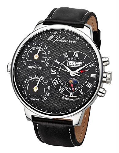 M. Johansson MoziaLSB - Reloj de caballero automático, XXL 55 mm, correa de piel color negro, caja de acero inoxidable, temperatura y humedad: Amazon.es: ...