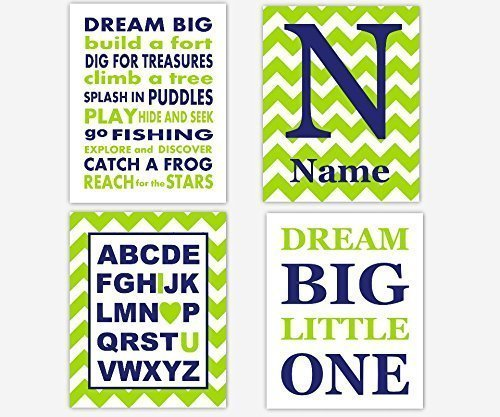 Amazon.com: Navy Blue Lime Green Boy Nursery Wall Art Dream Big ABC ...