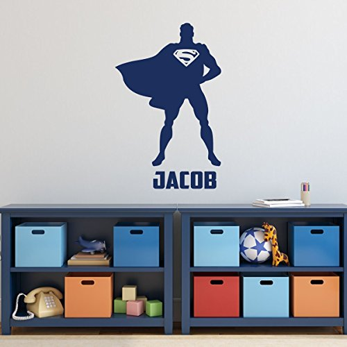 Superman Decorations - Personalized Superhero Figure with Symbol, Emblem, or Logo, DC Comics Vinyl Wall Decal Stickers for Kids Boys Rooms