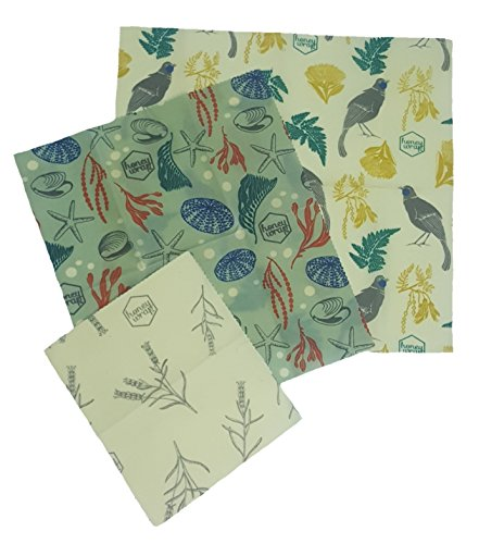 (Honeywrap Beeswax Food Wrap | Assorted 3 Pack | REUSABLE - SUSTAINABLE - ECO FRIENDLY | Made with 100% Organic Cotton and ALL NATURAL INGREDIENTS! - - BONUS WILDFLOWER SEEDED PAPER INCLUDED FOR FREE!)