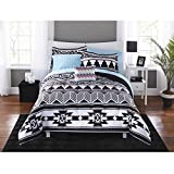 8 Piece Black White Aztec Comforter Set FULL SIZED, Tribal Pattern Bedding Ethnic Bed In Bag Geometric Ikat Pyramid South West Themed Native American Cultural Southwestern Trendy Egyptian Polyester