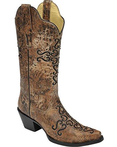 Corral Womens Noodlijdende Bronzen Kristal Geborduurde Kruis Cowgirl Laars Knip Toe Teen - R1279 Brons