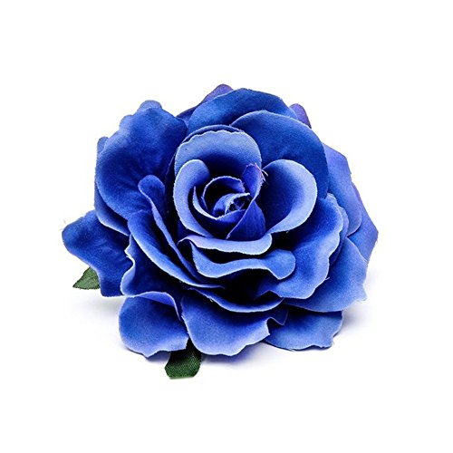 Fashion 3 Inich Hairclips Two Methods of Use 3D Simulation Fabric Rose Flower Barrettes with pin(Packed 2 pcs) (blue)