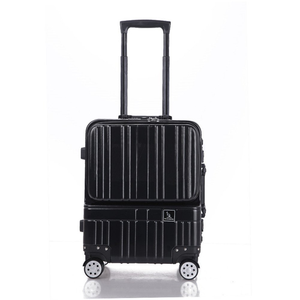 軽量スーツケース 近距離小型ボックスアルミフレームコンピュータトロリーボックスフロントコンピュータバッグ18インチ絶妙なスーツケースビジネスパスワードボックス 旅行スーツケース (色 : ブラック) B07RBV3X6C ブラック