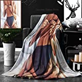Unique Custom Double Sides Print Flannel Blankets Cropped Image Of Beautiful Passionate Couple Having Sex On Bed Man Is Unfastening Bra Super Soft Blanketry for Bed Couch, Twin Size 60 x 80 Inches