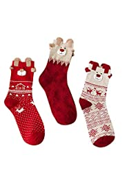 Christmas Sockings, Veepola 3 Pairs Winter Children Elk Cartoon Xmas Gift Thick Warm Woolen Socks