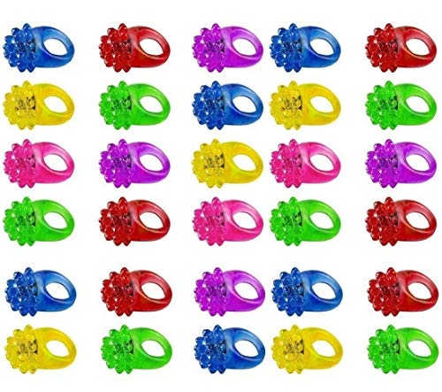Light Up Rings for Kids- Assorted LED Spikey Glow Light Rings- Pack of 24 Bumpy Rubber Rings for Party Supplies, Party Games & Crafts, Bulk Party Favors - by Kidsco]()
