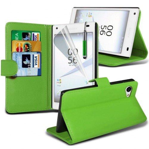Sony Xperia Z5 Compact Cubierta del caso con cuero (Verde) Plus de regalo libre, Protector de pantalla y un lápiz óptico, Solicitar ahora mejor caja del teléfono Valorado en Amazon! By FinestPhoneCase