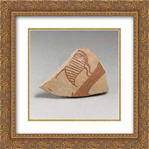 Mycenaean Culture - 20x20 Gold Ornate Frame and Double Matted Museum Art Print - Terracotta Vessel Fragment (Probably from a Krater) with Bird
