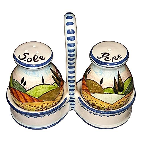 (CERAMICHE D'ARTE PARRINI - Italian Ceramic Set Salt and Pepper Shakers Pots Art Pottery Hand Painted Decorated Sunflowers Landscape Made in ITALY Tuscan)