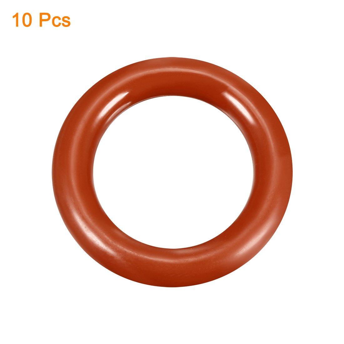 sourcing map 10pcs Silikon O-Ring VMQ Siegel Ring Dichtung Rot 25mmx18mmx3,5mm DE de