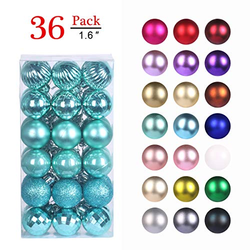 GameXcel Christmas Balls Ornaments for Xmas Tree - Shatterproof Christmas Tree Decorations Large Hanging Ball Teal 1.6