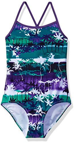 Kanu Surf Big Girls' Bali Beach Sport Banded One Piece Swimsuit, Alice Purple/Green, 10