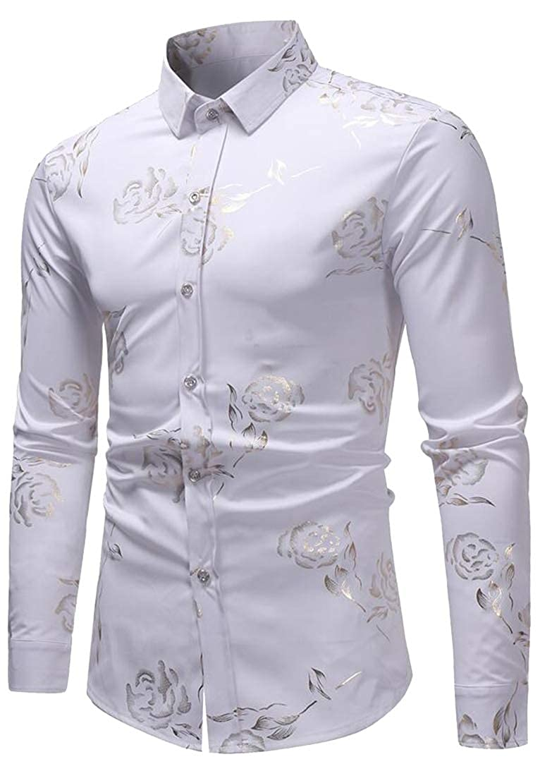 XiaoTianXinMen XTX Men Regular Fit Easy Care Long Sleeve Lapel Collar Floral Button Down Blouse Shirt