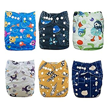 Babygoal Baby Reuseable Pocket Cloth Diaper Nappy 6pcs+6 Inserts+4pcs 3-layer Bamboo Inserts 6FB01-CA Huapin