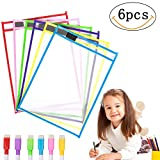 MMTX 6pcs Reusable Dry Erase Pockets Plastic Sheet Protectors Small Dry Erase Board for Classroom Organization & Home School Supplies for Kids Students Teachers