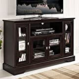 """WE Furniture 52"""" Highboy Style Wood TV Stand Console, Espresso"""