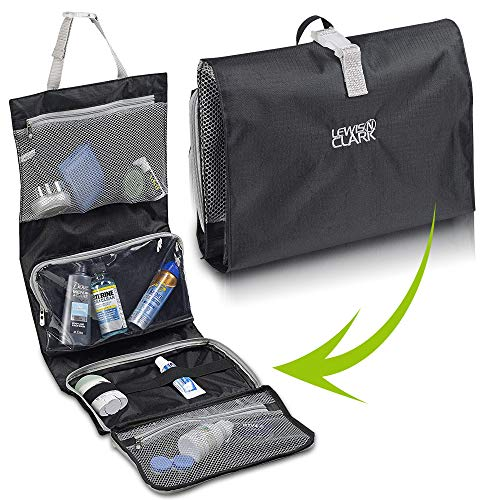 - Lewis N. Clark Hanging Toiletry Bag for Travel Accessories, Shampoo, Cosmetics + Personal Items with Waterproof Compartment and Folding Design
