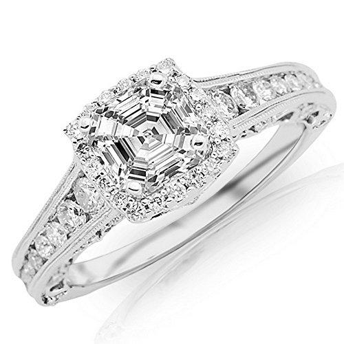 1.46 Carat GIA Certified 14K White Gold Vintage Halo Asscher Cut Diamond Engagement Ring Milgrain (0.71 Ct F Color VVS2 Clarity Center)
