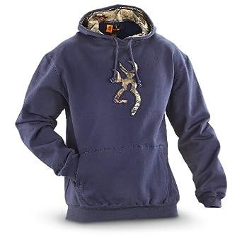 70d11299c66 Browning Men s Buckmark Camo Sweatshirt River Blue (Large)  Amazon.co.uk   Clothing