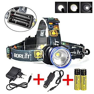 Boruit XML-T6 LED Headlamp Rechargeable for Camping, Running,Reading,Bicycle,Hunting,Fishing. with 2*18650 Rechargeable Batteries+Wall Charger+Car Charger