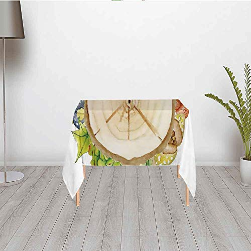 Succulent Stylish Satin Tablecloth,Wood Slice Tree Trunk with Cactus Plants Hand Painted Watercolor Style Artwork Decorative for Outdoor Picnic and Table Decorate,30.01''W x 28.35''H