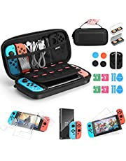 iAmer Accessories for Nintendo Switch 11 in 1 Starter Kits,Include Carrying Case for Switch,Protective Cover,Tempered Glass Screen Protector,Silicone Cover for Joy Con,Thumb Grips Caps,Game Card Case