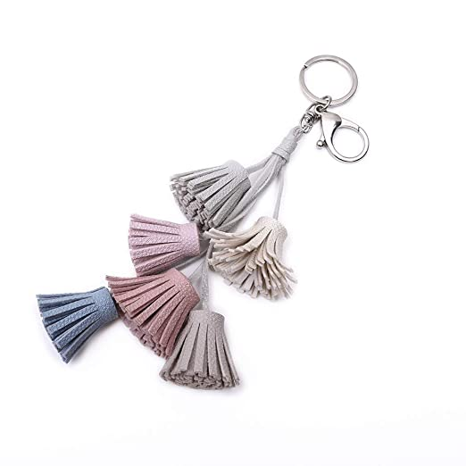 Women Leather Tassels Keychain, Multicolor Car Key Chain ...