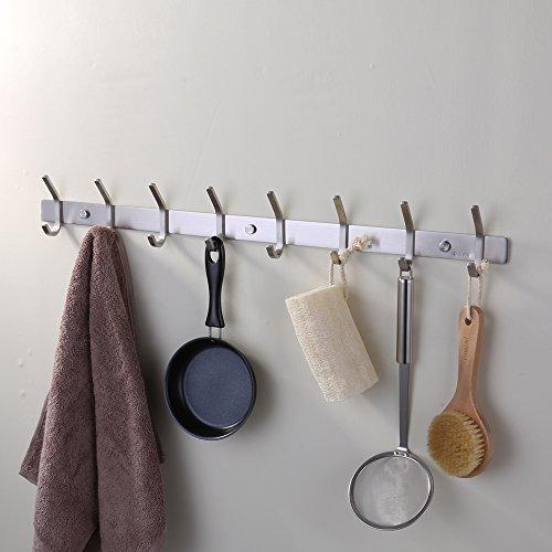 KES Towel/Coat Hook Rack Rail 8-Hook Shelf Robe Hanger Wall